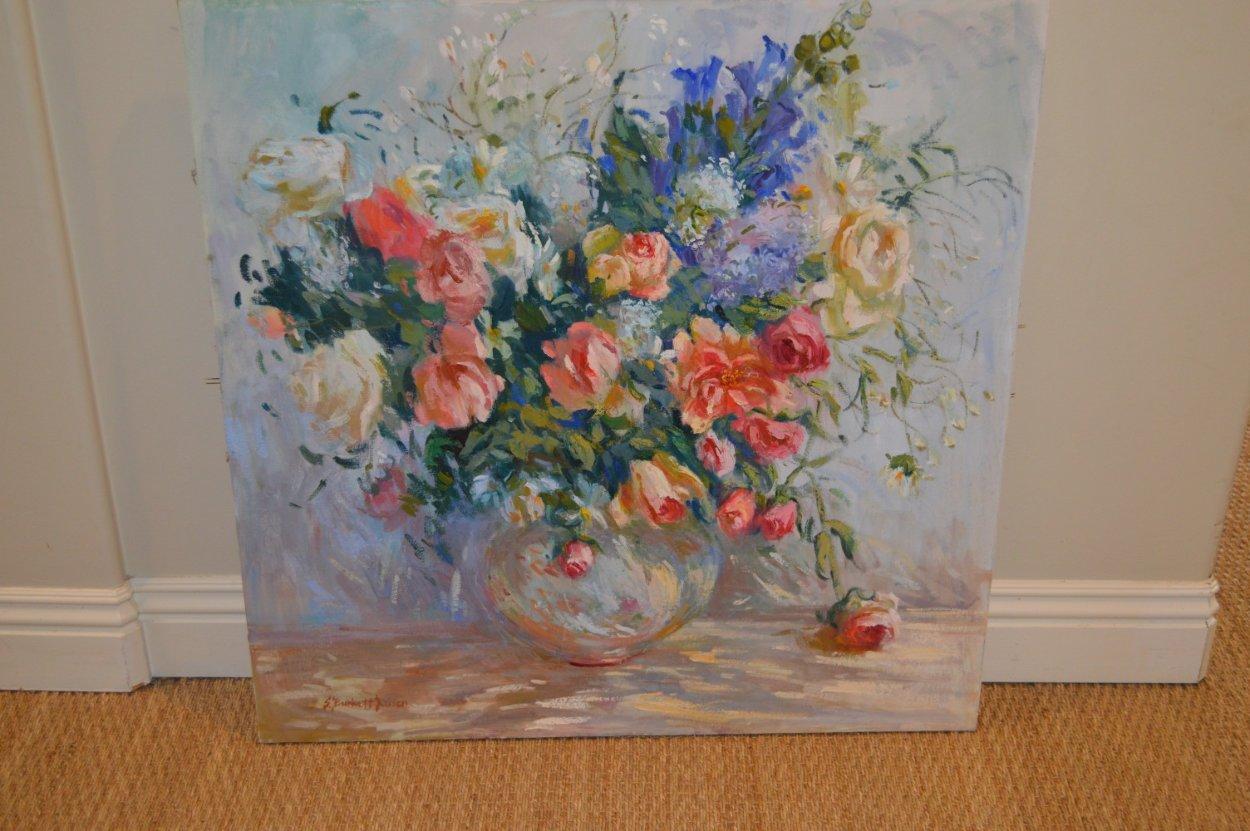 Untitled Bouquet 1990 36x36 Original Painting by S. Burrkett Kaiser