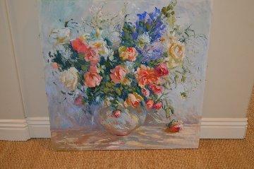 Untitled Bouquet 1990 36x36 Original Painting - S. Burrkett Kaiser