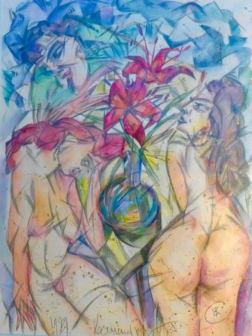 Untitled Watercolor 1989 25x30 Watercolor by Vyacheslav Kalinin
