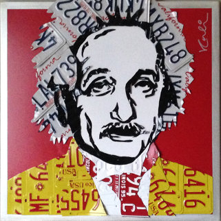 Einstein Unique Aluminum Wall Sculpture 32x32 Sculpture by Michael Kalish
