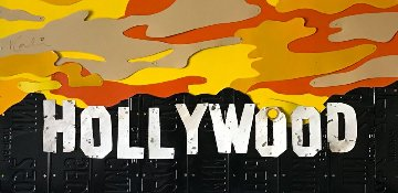 Old Hollywood Sign on License Plates 2007 25x48 Sculpture by Michael Kalish