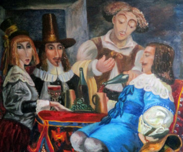In a Tavern 2007 19x20 Original Painting - Alexander Kanchik