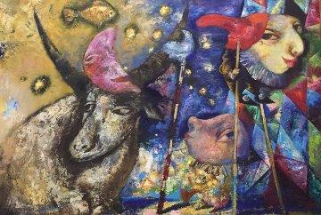 Jester 1992 60x43 Super Huge Original Painting - Alexander Kanchik
