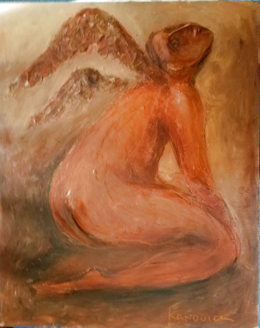 l' Ange - Mixed Media on Wood 42x23 Original Painting by Mark Kanovich