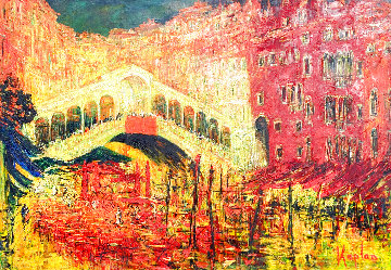 Rialto Domenica 2006 54x73 Huge Original Painting - Mark Kaplan