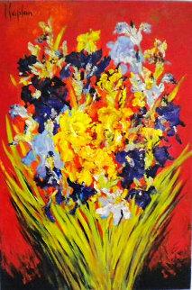 Iris Du Cap Bernat 2000 57x38 Original Painting - Mark Kaplan