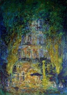 Nuit Blanche a St. Tropez 2014 67x44 Original Painting - Mark Kaplan