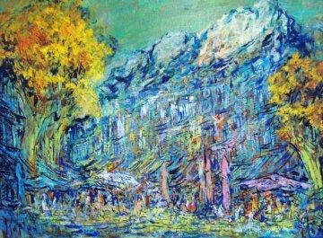 English Breakfast in Provence 2013 28x39  Original Painting - Mark Kaplan
