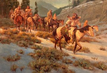 Untitled (Horseback Riders) 33x42 Original Painting by Gary Kapp