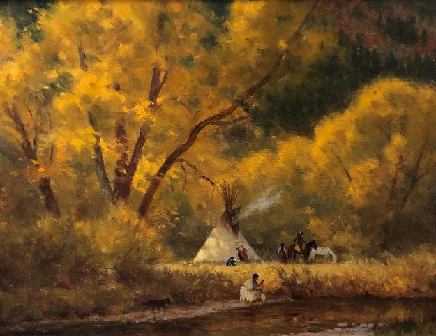 Last Warm Days 1942 12x16 Original Painting by Gary Kapp