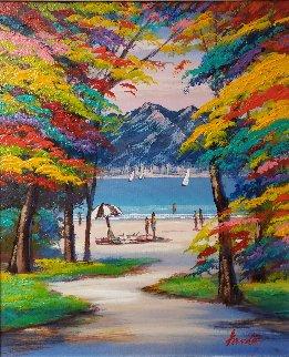 Untitled (Beach Landscape)  2016 27x23 Original Painting by Janos Kardos