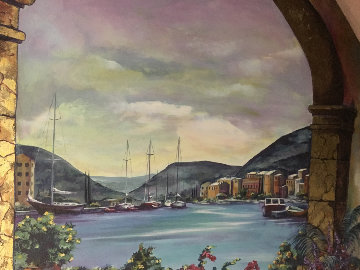 Village By the Sea 2005 45x65 Super Huge Original Painting - Karen Stene