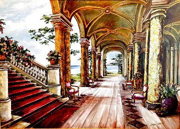 Villa By the Lake 50x65 Huge Original Painting - Karen Stene