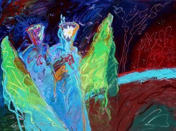 Iris and Lilly in the Garden 2012 48x60 Original Painting - Peter Karis
