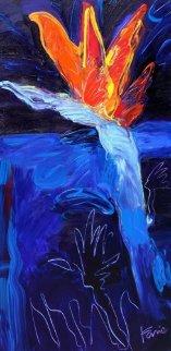 Bird of Paradise Night 2012 48x24 Original Painting by Peter Karis