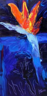 Bird of Paradise Night 2012 48x24 Original Painting - Peter Karis