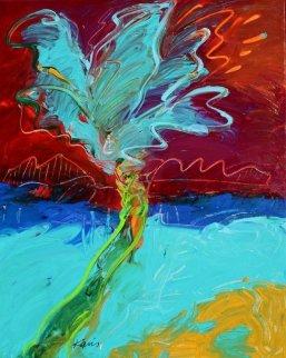 Suspension Bridge Palm Original Painting by Peter Karis