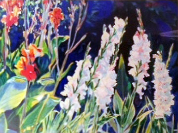 Gladiolus and Cannas 1984 32x42 Original Painting - Jan Kasprzycki