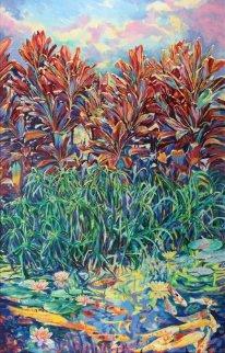 Hawaiian Lily Pond (mural size) 1988 122x78  Huge Mural Original Painting - Jan Kasprzycki