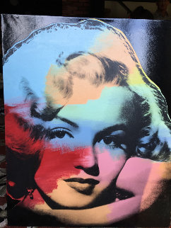 Marilyn Large Young Black Unique 1997 45x37 Super Huge Original Painting - Steve Kaufman