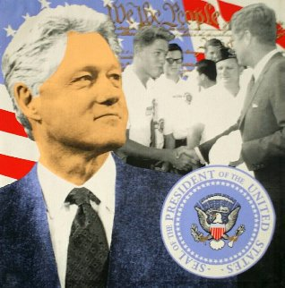 Bill Clinton Dark Blue 2004 Embellished Limited Edition Print - Steve Kaufman