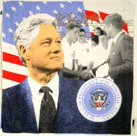 Bill Clinton Dark Blue 2004 Embellished Limited Edition Print by Steve Kaufman - 1