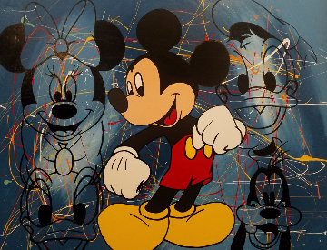 Mickey Mouse And Friends Embellished 47x37 Huge Limited Edition Print - Steve Kaufman