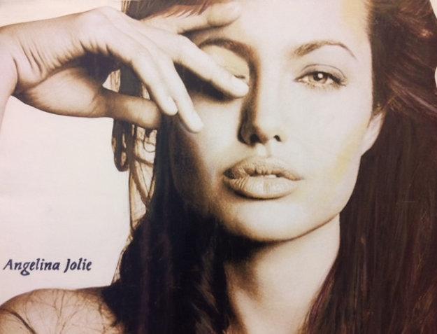 Angelina Jolie 2007 Unique 30x40 Original Painting by Steve Kaufman