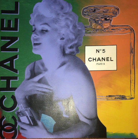 Marilyn Monroe Chanel #5  Unique 54x54 Original Painting by Steve Kaufman
