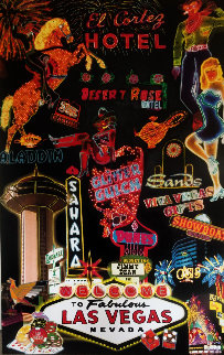 Las Vegas Neon Unique  2005 62x40 Original Painting - Steve Kaufman