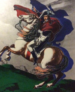 Silver Napoleon on Horse 1995  Embellished  Limited Edition Print - Steve Kaufman