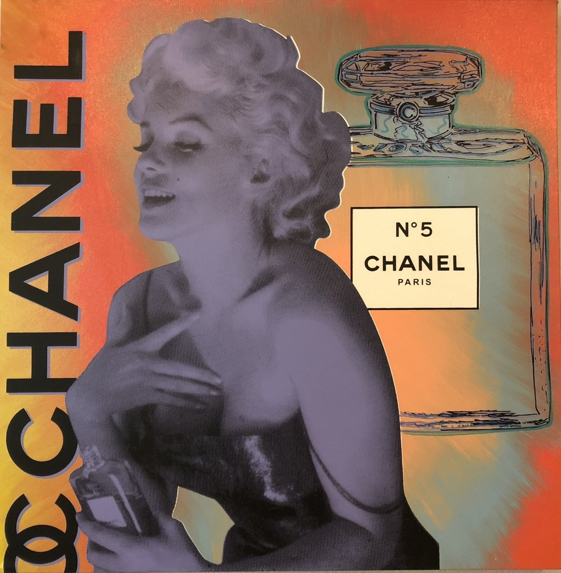 Chanel Marilyn, State I Unique 30x30 Original Painting by Steve Kaufman