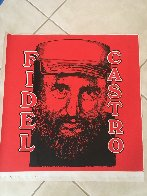 Fidel Castro Embellished Limited Edition Print by Steve Kaufman - 1