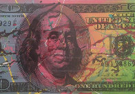New $100 Bill Splattered Unique  Embellished   Limited Edition Print by Steve Kaufman - 0