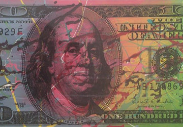 New $100 Bill Splattered Unique  Embellished   Limited Edition Print - Steve Kaufman