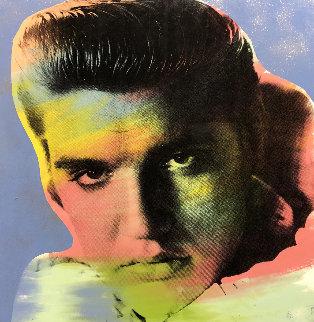 Elvis I Blue (Dusted, Embellished) 38x38 Super Huge  Limited Edition Print - Steve Kaufman