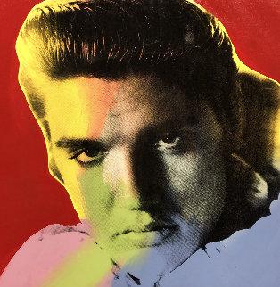 Elvis I Red Embellished 38x38 Super Huge  Limited Edition Print - Steve Kaufman