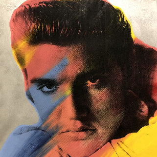 Elvis I Silver Dusted Embellished  38x38 Super Huge  Limited Edition Print - Steve Kaufman
