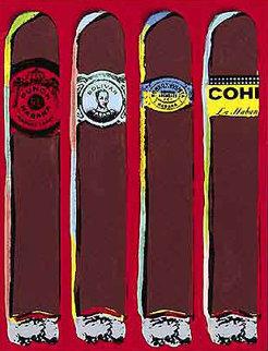 Cuatro Cubanos Rojo Embellished Limited Edition Print - Steve Kaufman