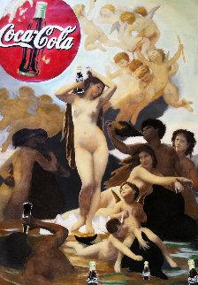 Venus And the Coca Cola Party Unique 2008 66x46 Original Painting - Steve Kaufman