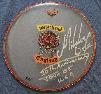 Motorhead Remo Drumhead  2006 14 in Mickee Dee Original Painting - Steve Kaufman