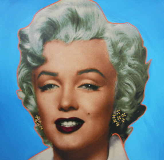Marilyn Icon - Blue Embellished Limited Edition Print by Steve Kaufman