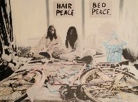John Lennon and Yoko Ono Hair Peace / Bed Peace Unique 2006 35x48 Original Painting by Steve Kaufman - 0