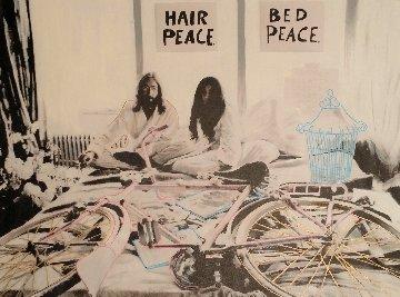 John Lennon and Yoko Ono Hair Peace / Bed Peace Unique 2006 35x48 Original Painting by Steve Kaufman