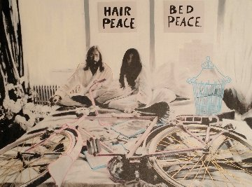 John Lennon and Yoko Ono Hair Peace / Bed Peace Unique 2006 35x48 Original Painting by Steve Kaufman