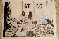 John Lennon and Yoko Ono Hair Peace / Bed Peace Unique 2006 35x48 Original Painting by Steve Kaufman - 1