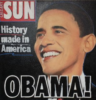 Obama! History Made in America  Unique 2008  20x20 Original Painting by Steve Kaufman