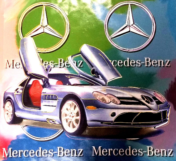 Mercedes Benz Sl Coupe - Multi Color 2005 Embellished Original Painting by Steve Kaufman