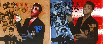 Muhammad Ali Olympic State Gold, And Red White And Blue, Set of 2 - AP 1996   Limited Edition Print - Steve Kaufman