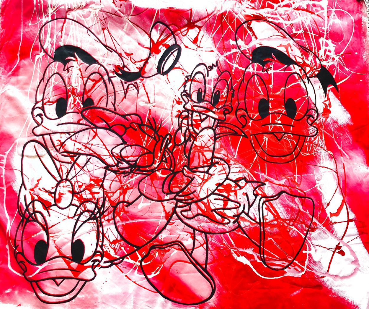 Disney Donald And Daisy Duck Red White Oil Unique  1999 42x50 Original Painting by Steve Kaufman